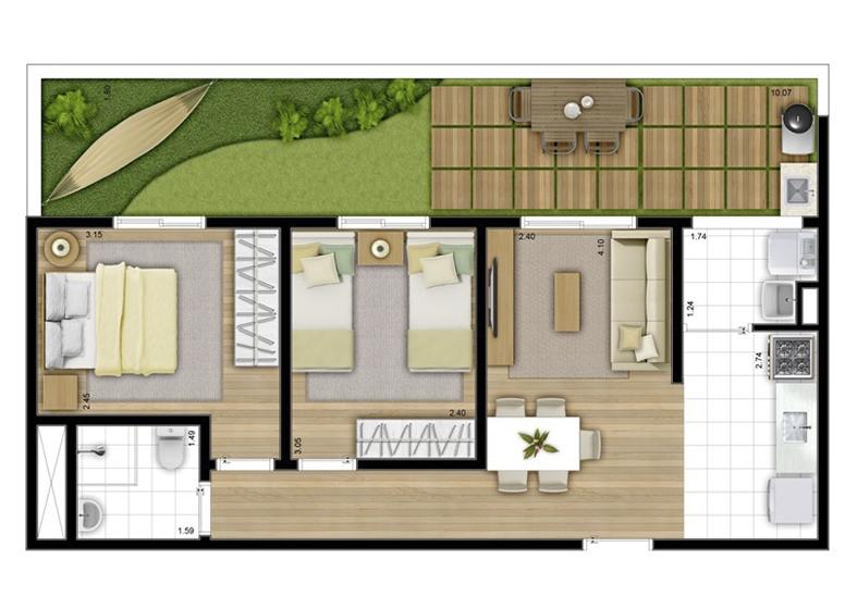 Giardino 65m² - perspectiva ilustrada - Fatto Acqua