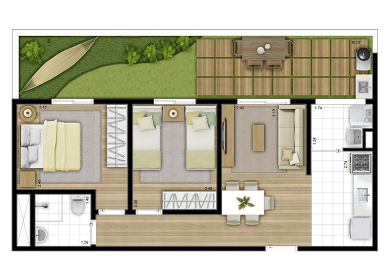 Giardino 65m² - perspectiva ilustrada