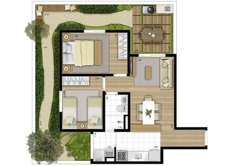 Giardino 81m² - perspectiva ilustrada