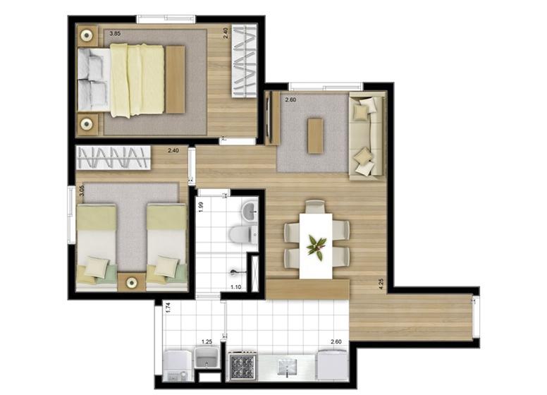 2 Dorms. 47m² - perspectiva ilustrada - Fatto Acqua