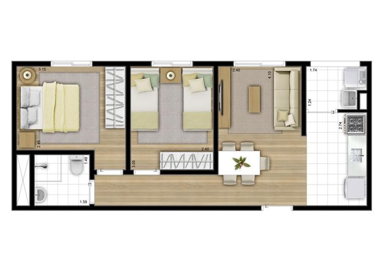 2 Dorms. 45m² - perspectiva ilustrada - Fatto Acqua