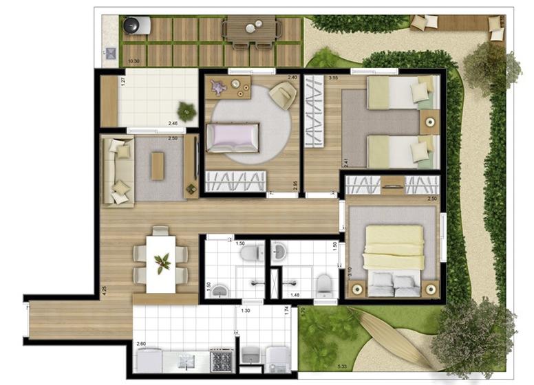 Giardino 102m² - perspectiva ilustrada