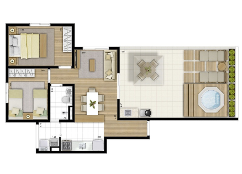 Penthouse 2 Dorms. 78m² - perspectiva ilustrada - Fatto Acqua