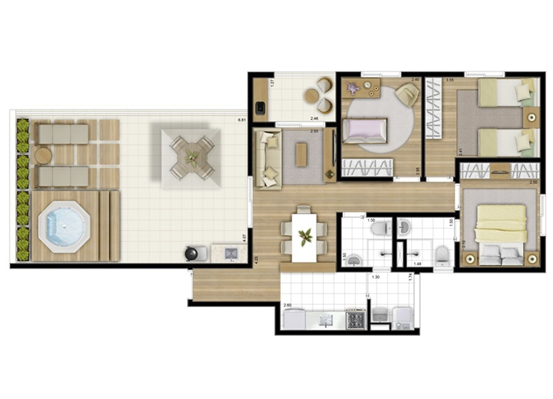 Penthouse 3 Dorms. 95m² - perspectiva ilustrada - Fatto Acqua