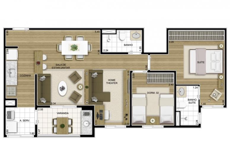 3 dorms. Sala Ampliada 72.07m² - perspectiva ilustrada