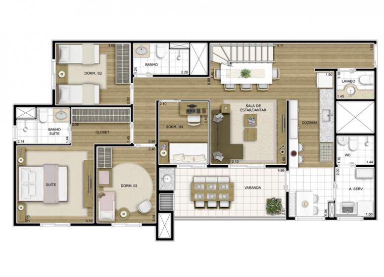 Duplex Inferior 4 Dorms 188,07m² - perspectiva ilustrada - Fatto Exclusive Morumbi