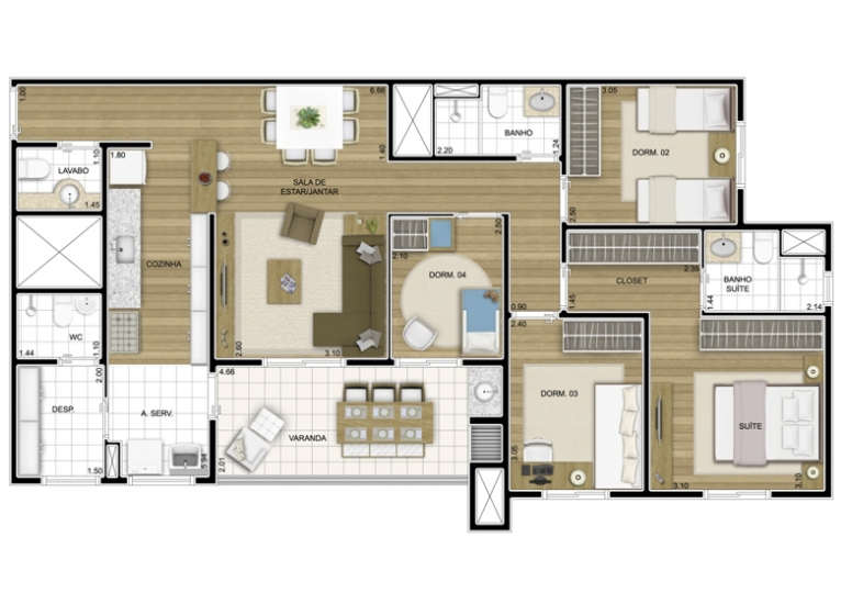 4 dorms. 102,80m2 - perspectiva ilustrada - Fatto Exclusive Morumbi
