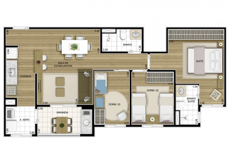 3 dorms. 72,07m² - perspectiva ilustrada - Fatto Exclusive Morumbi