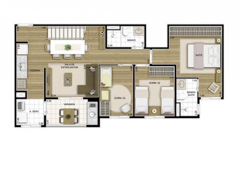 Duplex Inferior 3 Dorms. 125,83m² - perspectiva ilustrada - Fatto Exclusive Morumbi