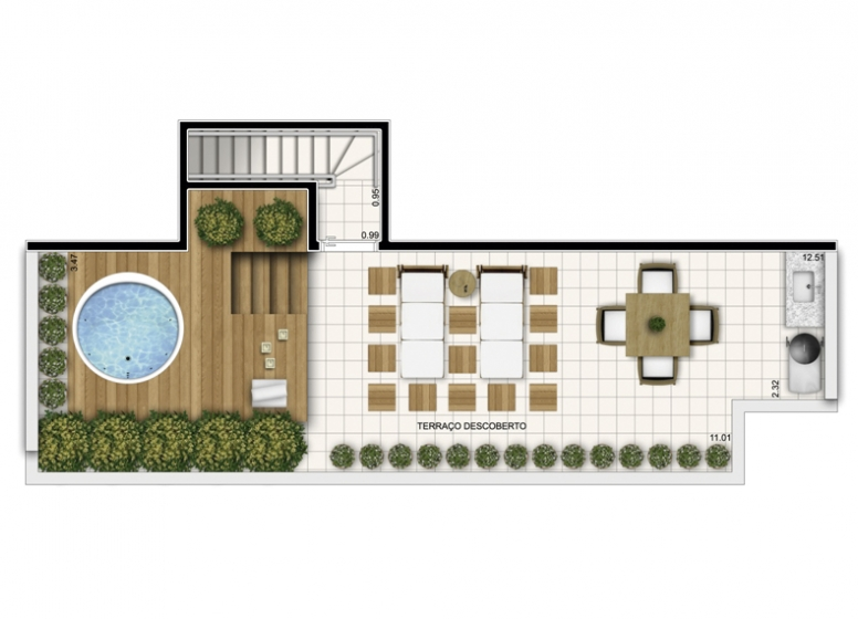 Duplex Superior 3 Dorms. 125,83m² - perspectiva ilustrada - Fatto Exclusive Morumbi