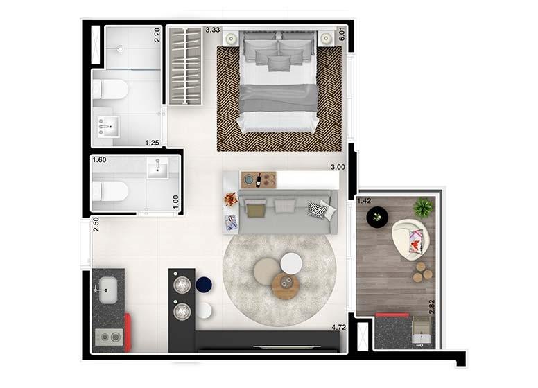 Planta Studio Ampliado 36,16m² - perspectiva ilustrada