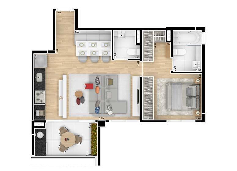 Planta 1 Dormitório Ampliado 55,26m² - perspectiva ilustrada