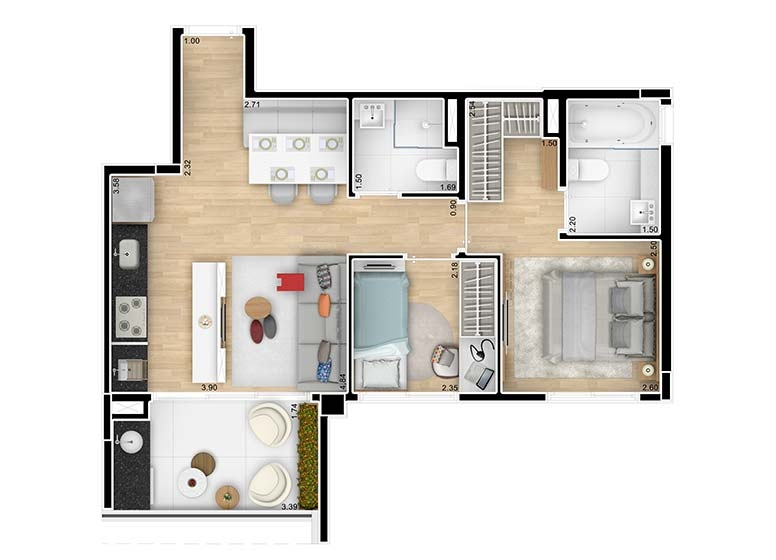 Planta 2 Dormitórios 55,26m² - perspectiva ilustrada