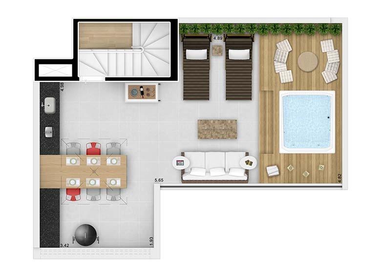 Planta Duplex Superior 104,25m² - perspectiva ilustrada