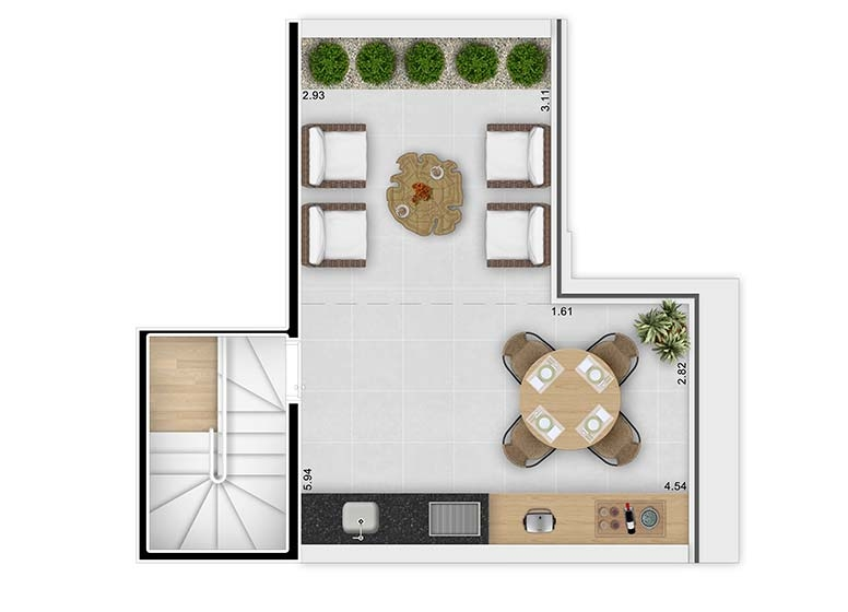 Planta Duplex Superior 62,76m² - perspectiva ilustrada