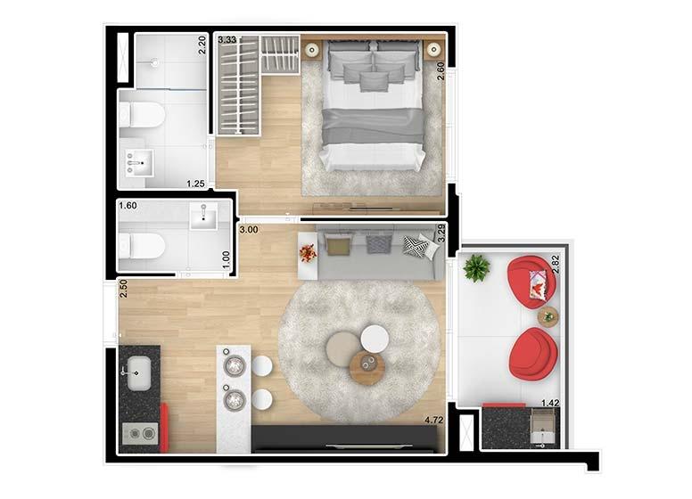 Planta 1 Dormitório 36,16m² - perspectiva ilustrada - Brand Pensilvânia