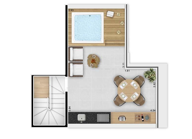 Planta Duplex Superior 62,76m² com opção Spa - perspectiva ilustrada