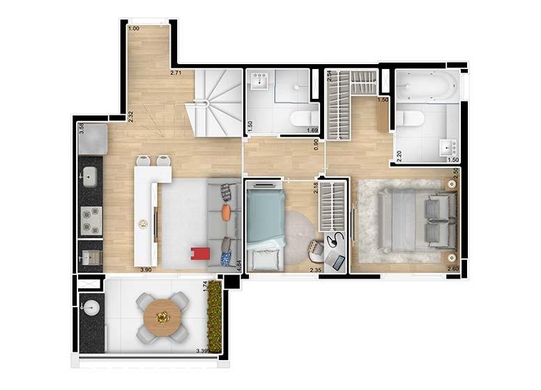 Planta Duplex Inferior 104,25m² - perspectiva ilustrada