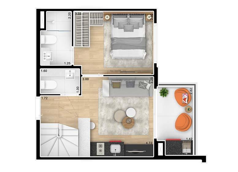 Planta Duplex Inferior 1 Dormitório 62,76m² - perspectiva ilustrada