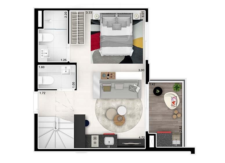 Planta Duplex Inferior Studio Ampliado 62,76m² - perspectiva ilustrada