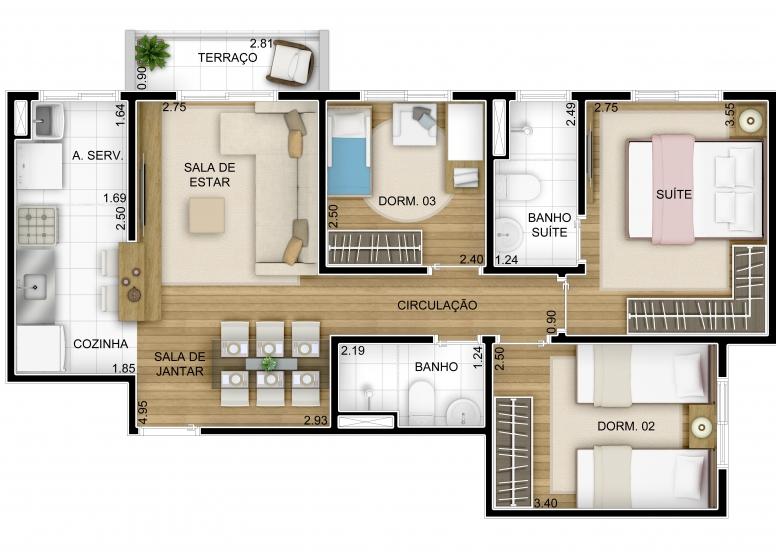 3 dorms  66,05m² - perspectiva ilustrada