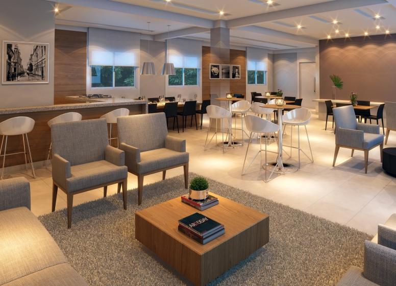Salão de festas gourmet - perspectiva ilustrada - Inspire Barueri Brisas