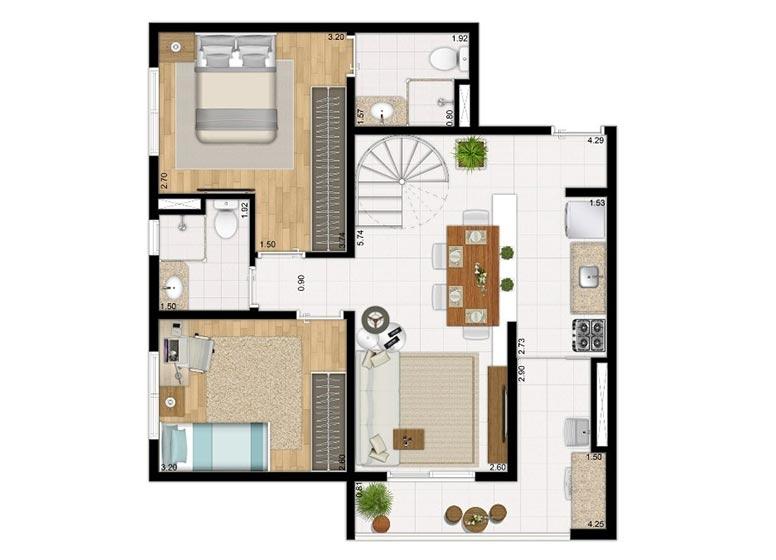 Duplex Inferior 113,52m² - perspectiva ilustrada - Compasso by Plano&Plano