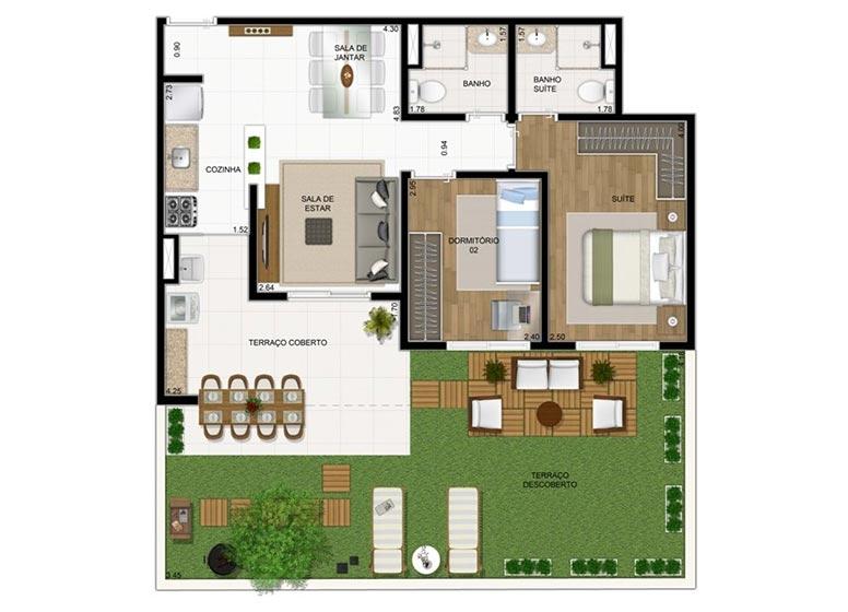 Giardino 2 dorms. 98,23m² - perspectiva ilustrada - Compasso by Plano&Plano
