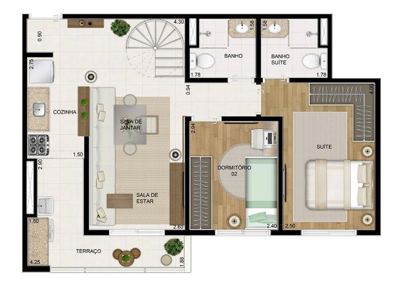 Duplex Inferior 110,84m² - perspectiva ilustrada