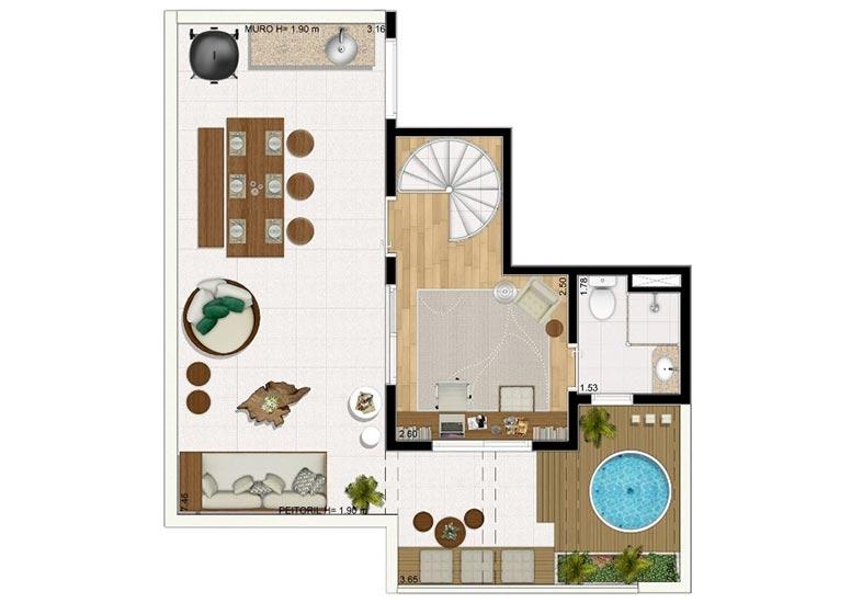 Duplex Superior sem Suíte 113,52m² - perspectiva ilustrada