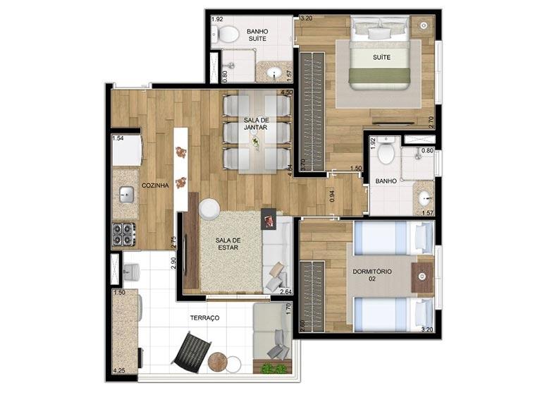 2 Dorms. 61,35m² - perspectiva ilustrada - Compasso by Plano&Plano