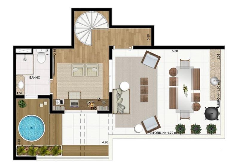 Duplex Superior sem Suíte 110,84m² - perspectiva ilustrada