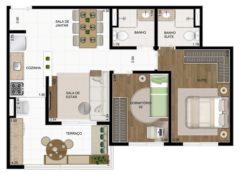 2 Dorms. 60,37m² - perspectiva ilustrada - Compasso by Plano&Plano