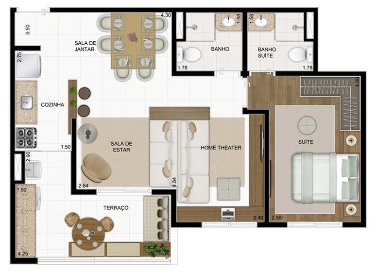 2 Dorms Sala Ampliada 60,37m² - perspectiva ilustrada - Compasso by Plano&Plano