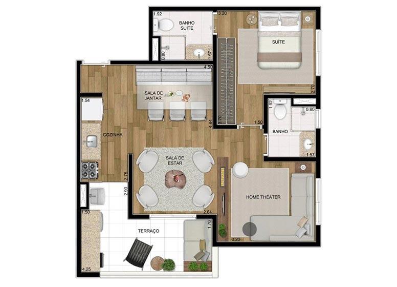 2 Dorms. Sala Ampliada 61,35m² - perspectiva ilustrada