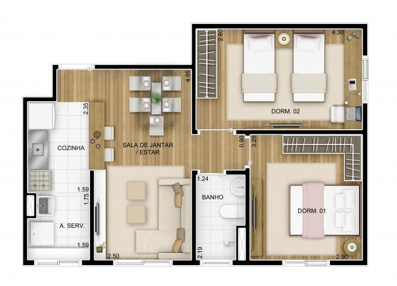 2 dormitórios 51,05m² Final 3 - perspectiva ilustrada