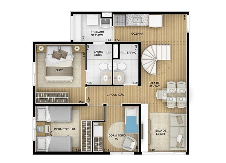 Duplex Inferior 3 dorms. - 116,80m² - perspectiva ilustrada - Fatto Momentos