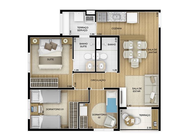 3 dorms. - 58,26m² - perspectiva ilustrada