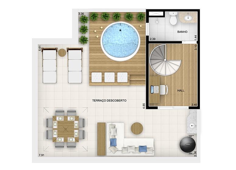 Duplex Superior 3 dorms. - 116,80m² - perspectiva ilustrada - Fatto Momentos