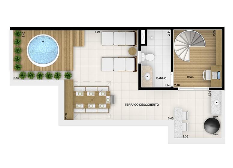 Duplex Superior 2 dorms. - 95,10m² - perspectiva ilustrada - Fatto Momentos