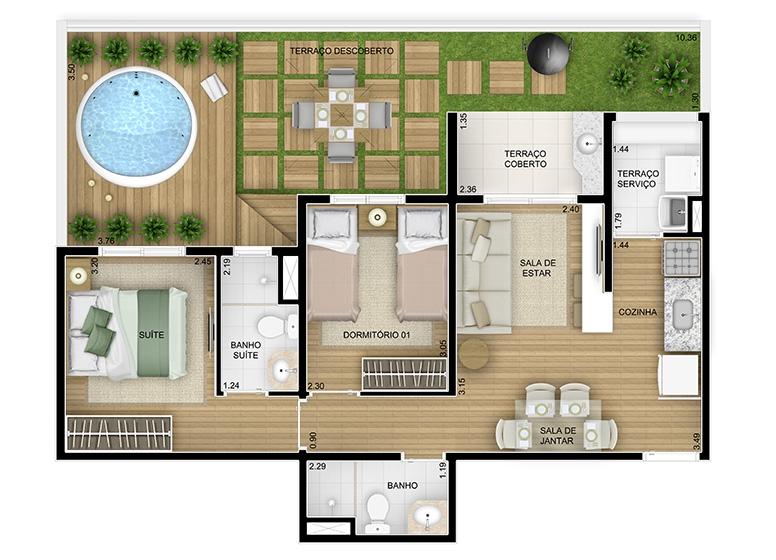 Giardino 2 dorms. - 79,41m² - perspectiva ilustrada - Fatto Momentos