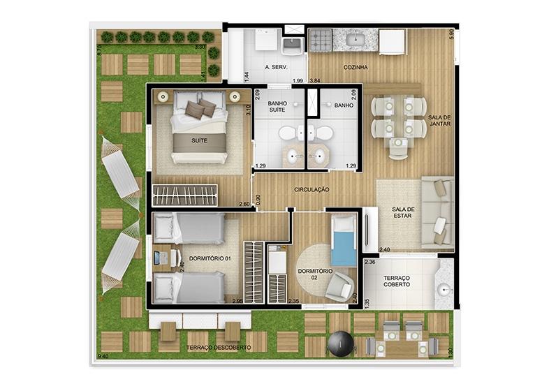 Giardino 3 dorms. - 86,87m² - perspectiva ilustrada