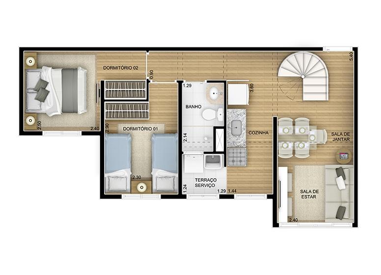 Duplex Inferior 2 dorms. - 95,10m² - perspectiva ilustrada - Fatto Momentos