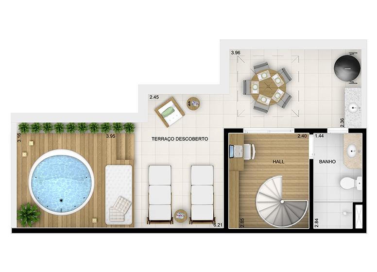 Duplex Superior 2 dorms. - 98,64m² - perspectiva ilustrada - Fatto Momentos