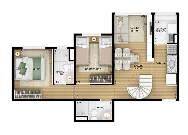 Duplex inferior 2 dorms. - 98,64m² - perspectiva ilustrada - Fatto Momentos