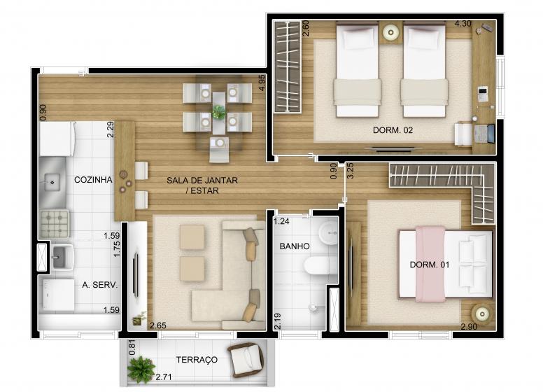 Planta 2 dorm 55,08m² - perspectiva ilustrada - Inspire Barueri Verde / Flores