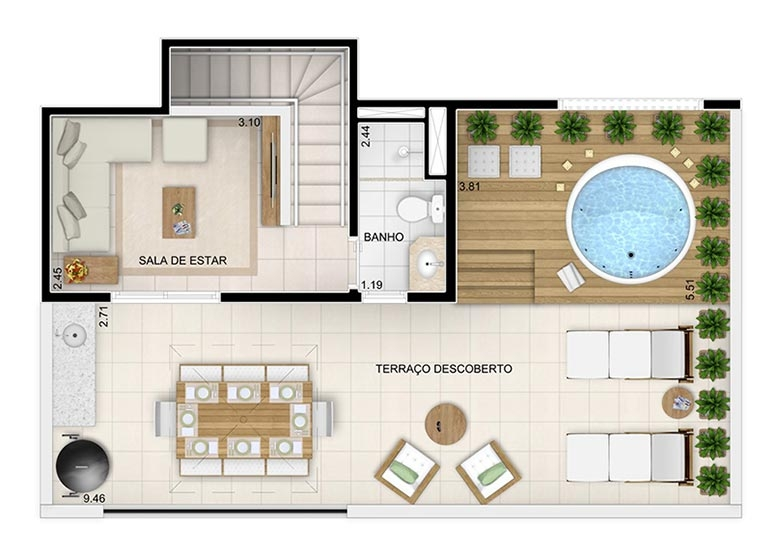 Duplex Superior 117,93m² (final 8) - perspectiva ilustrada