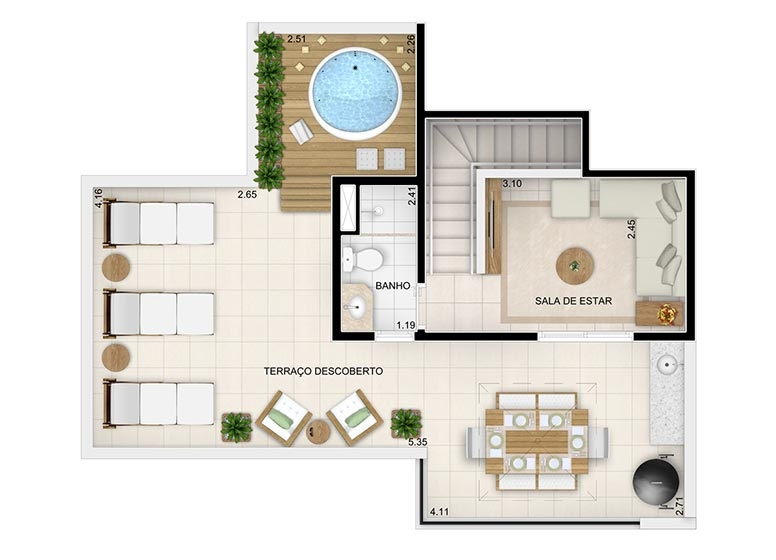 Duplex Superior 118,29m² (final 7) - perspectiva ilustrada