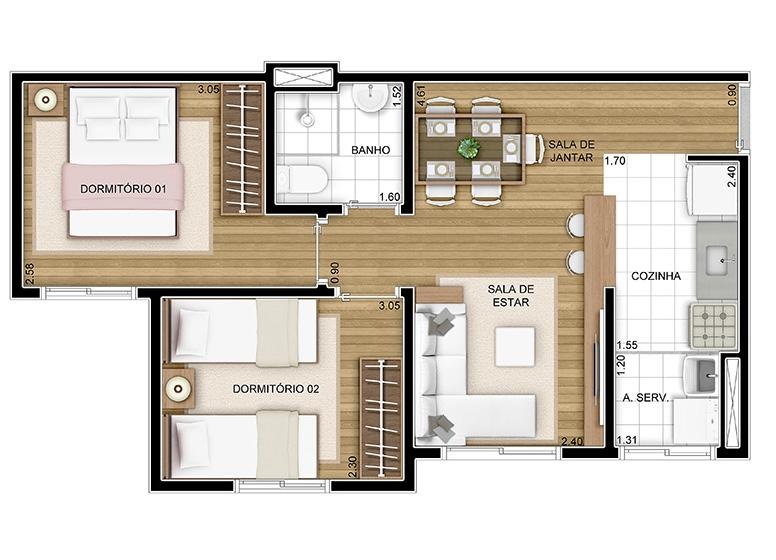 2 doms -  43m² - perspectiva ilustrada - Certto Aquarela - Tons da Tarde