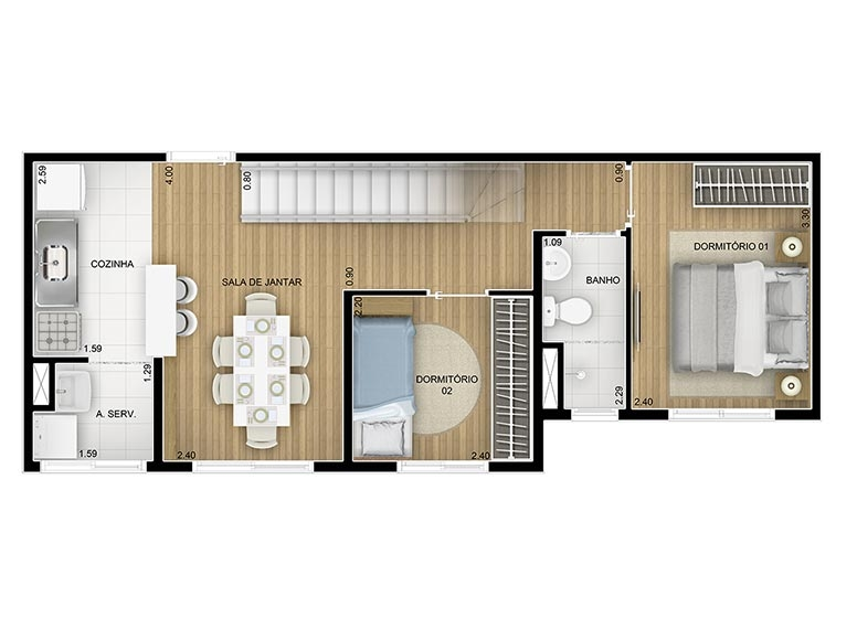 Duplex Inferior  2 dorms - 85m² - perspectiva ilustrada - Fatto Family Club